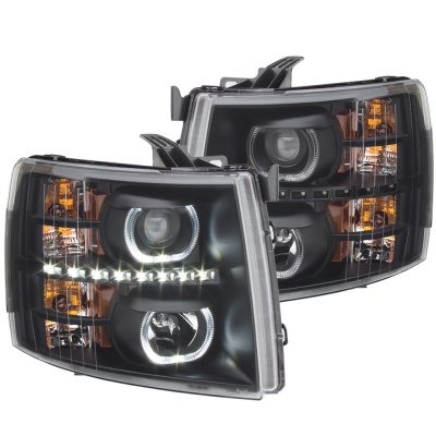 Chevy Silverado 2007 2017 Black Halo Led Drl Projector Headlights A1038861101 Topgearautosport