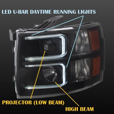 Chevy Silverado 2007-2013 Black Smoked DRL Projector Headlights and Red LED Tail Lights