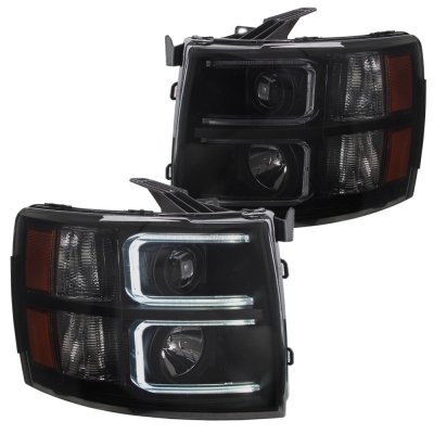 Chevy Silverado 2500HD 2007-2014 Black Smoked DRL Projector Headlights and Red LED Tail Lights