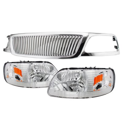 2002 Ford F150 Chrome Vertical Grille Headlights Conversion