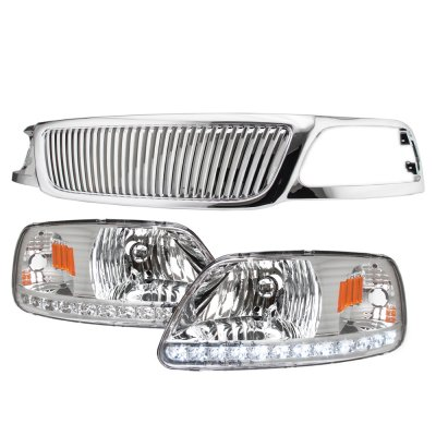 2002 Ford F150 Chrome Vertical Grille LED DRL Headlights