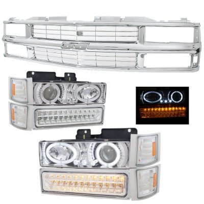 1994 Chevy 1500 Pickup Chrome Grille and Projector Headlights LED Bumper Lights