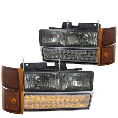 Chevy Silverado 1994-1998 Smoked Headlights and LED Bumper Lights