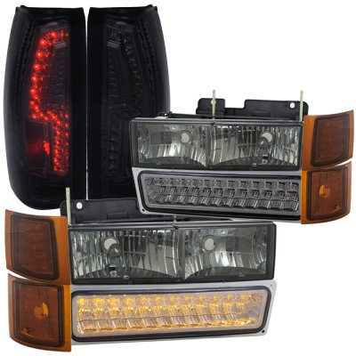 Gmc Sierra 2500 1994 2000 Smoked Headlights Led Drl And Custom Tail Lights A128f2jm213 Topgearautosport