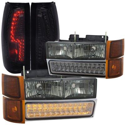 Gmc Sierra 3500 1994 2000 Smoked Headlights Led Drl And Custom Tail Lights A128l292213 Topgearautosport