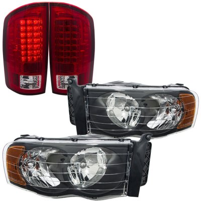 Dodge Ram 2002-2005 Black Headlights and LED Tail Lights Red Clear