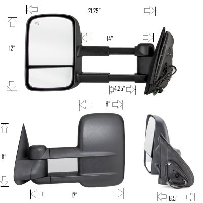 Chevy Silverado 2500HD 1999-2002 Black Power Heated Towing Mirrors