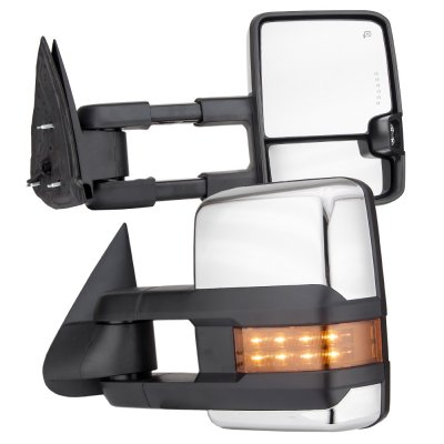 Chevy Silverado 2003-2006 Chrome Towing Mirrors LED DRL Lights Power Heated