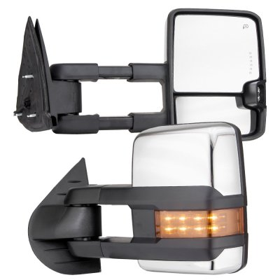 2015 Toyota Tundra Towing Mirrors >> Chevy Silverado 2007-2013 Chrome Towing Mirrors LED DRL Lights Power Heated | A128J0F4221 ...
