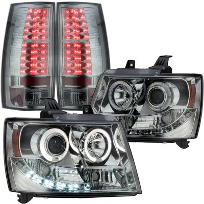Chevy Tahoe 2007-2014 Smoked Halo Projector Headlights and LED Tail Lights