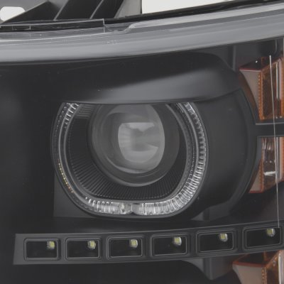 Chevy Silverado 2500HD 2007-2014 Black Halo DRL Projector Headlights Red Optic LED Tail Lights