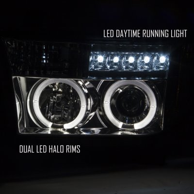 Toyota Tundra 2007-2013 Smoked Projector Headlights and LED Tail Lights