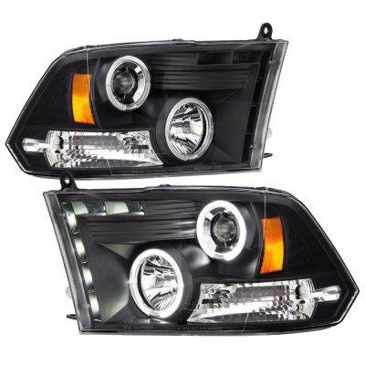 Dodge Ram 3500 2010-2016 Black Halo Projector Headlights with LED DRL