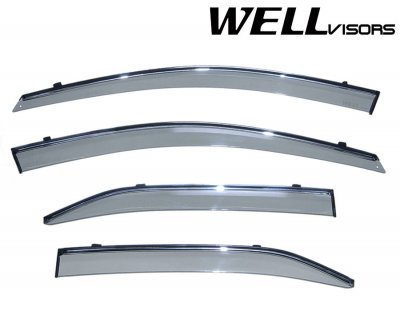 2008 Toyota Camry Smoked Side Window Vent Visors Deflectors Rain Guard Shade Chrome Trim