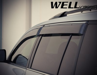 ... Toyota Highlander 2008-2013 Smoked Side Window Vent Visors Deflectors  Rain Guard Shade Chrome Trim 507920894ec