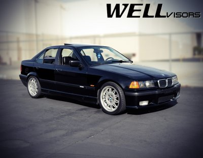 BMW 3 Series Sedan 1992-1998 Smoked Side Window Vent Visors Deflectors Rain Guard Shade Premium Series