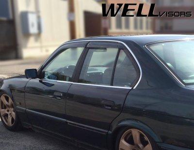 BMW 5 Series Sedan 1989-1995 Smoked Side Window Vent Visors Deflectors Rain Guard Shade Premium Series