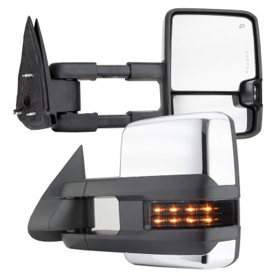 Chevy Silverado 2003-2006 Chrome Towing Mirrors Smoked LED DRL Lights Power Heated