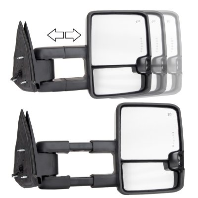 Chevy Silverado 2007-2013 Chrome Towing Mirrors Smoked LED Lights Power Heated