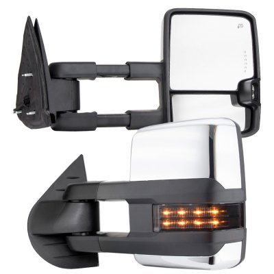 Chevy Silverado 2007-2013 Chrome Towing Mirrors Smoked LED DRL Lights Power Heated