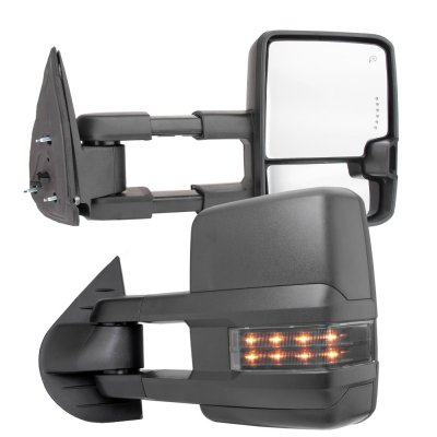 Chevy Silverado 2500HD 2007-2014 Towing Mirrors Smoked LED DRL Lights Power Heated