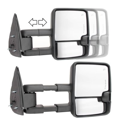 Chevy Silverado 1999-2002 Towing Mirrors Smoked LED DRL Lights Power Heated