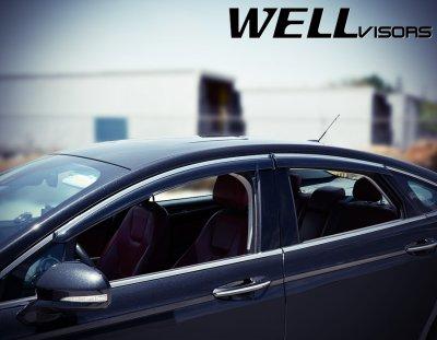Ford Fusion 2013-2016 Smoked Side Window Vent Visors Deflectors Rain Guard Shade Chrome Trim