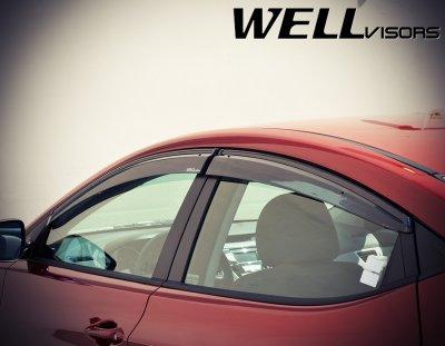Hyundai Elantra Sedan 2011-2016 Smoked Side Window Vent Visors Deflectors Rain Guard Shade Black Trim