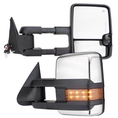 Chevy Silverado 1988-1998 Chrome Power Towing Mirrors LED Signal Lights