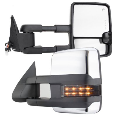 Chevy Silverado 1988-1998 Chrome Power Towing Mirrors Smoked LED Signal Lights
