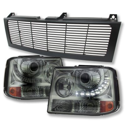 Chevy Suburban 2000-2006 Black Grille and Smoked LED DRL Projector Headlight Conversion