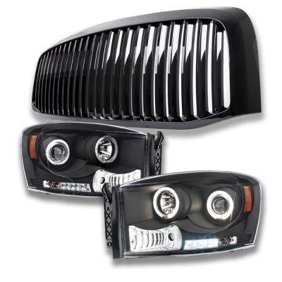 Dodge Ram 2500 2006-2009 Black Vertical Grille and Projector Headlights Set