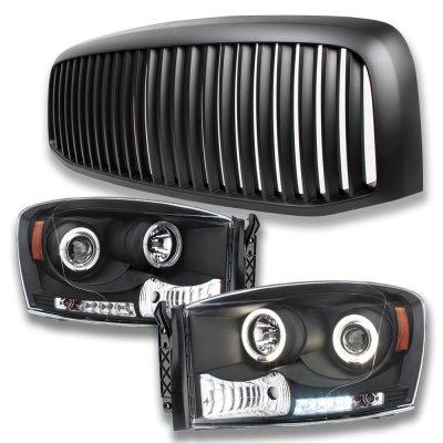 Dodge Ram 2006-2008 Matte Black Vertical Grille and Projector Headlights Set