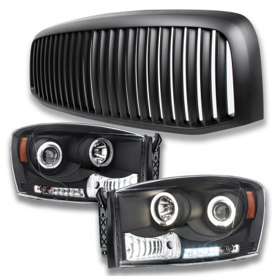Dodge Ram 2500 2006-2009 Matte Black Vertical Grille and Projector Headlights Set