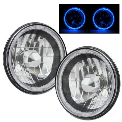 Ford F250 1969-1979 Blue Halo Black Chrome Sealed Beam Headlight Conversion