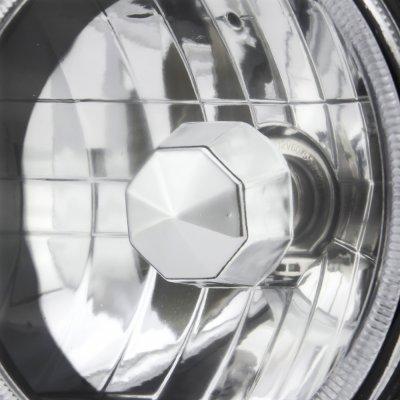 Chevy Blazer 1969-1979 Red Halo Black Chrome Sealed Beam Headlight Conversion