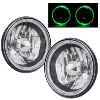 1973 Chevy C10 Pickup Green Halo Black Chrome Sealed Beam Headlight Conversion
