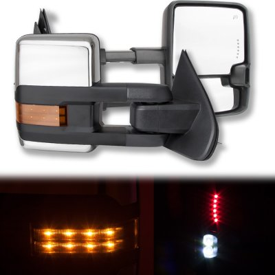 Chevy Silverado 2014-2018 Chrome Towing Mirrors LED Lights Power Heated