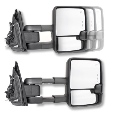 Chevy Silverado 2014-2018 Chrome Towing Mirrors Clear LED Signal Lights Power Heated
