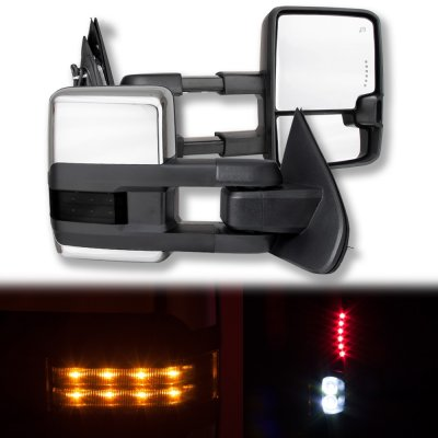 Chevy Silverado 2500HD 2015-2019 Chrome Towing Mirrors Smoked LED Lights Power Heated