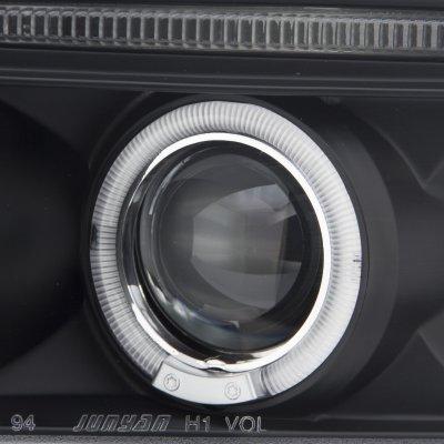 Dodge Ram 1994-2001 Black LED Eyebrow Projector Headlights with Halo