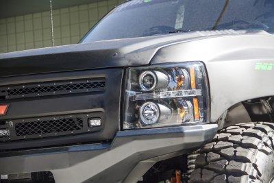 Chevy Silverado 2007-2013 Black Dual Halo Projector Headlights with LED