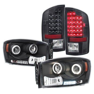 Dodge Ram 2500 2007 2009 Black Projector Headlights And Led Tail Lights A1038x90213 Topgearautosport
