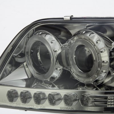 2002 Ford F150 Smoked Halo Projector Headlights with LED
