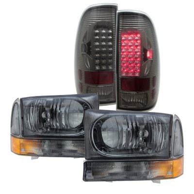 Ford F350 1999-2004 Smoked Headlights Set and LED Tail Lights