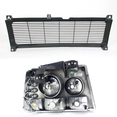 Chevy Silverado 1999-2002 Black Billet Grille and Headlights with LED