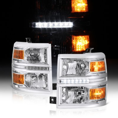 Chevy Silverado 1500 2014-2015 Clear Headlights LED DRL