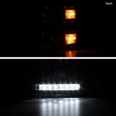 Chevy Silverado 1500 2014-2015 Clear Headlights LED DRL