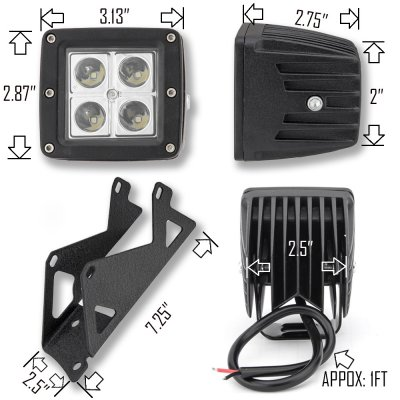 Jeep Wrangler JK 2007-2015 Dual Spot Beam LED Windshield Lights and Mount