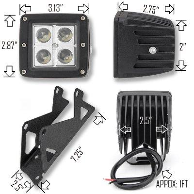 Jeep Wrangler JK 2007-2015 Dual Spot Beam LED Windshield Lights and Mount